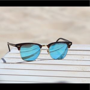 Blue Mirrored Clubmaster Ray Bans